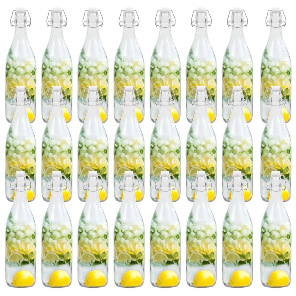 クリップクロージャー付きガラス瓶24個1L