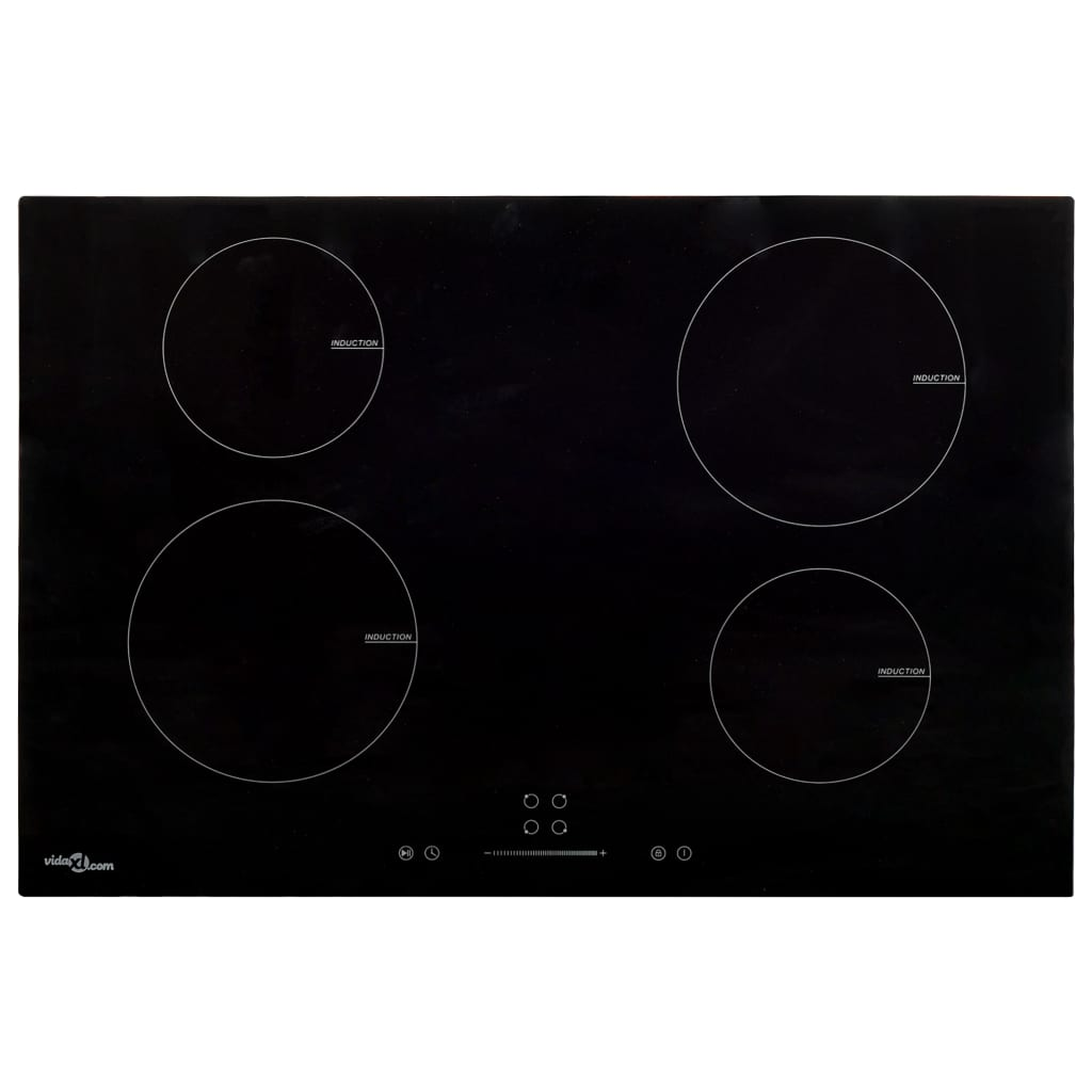 Induction Hob with 4 Burners Touch Control Glass 77 cm 7000 W