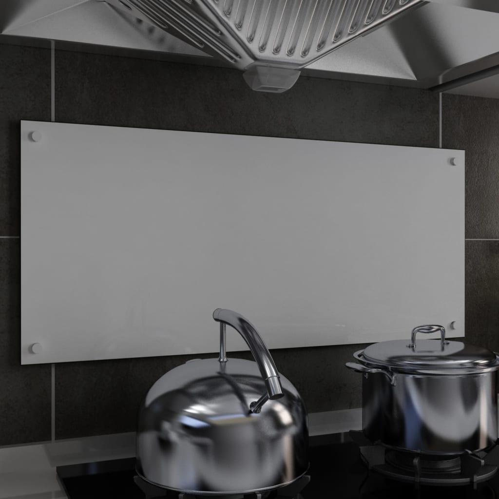 Kitchen Backsplash White 90x40 cm Tempered Glass