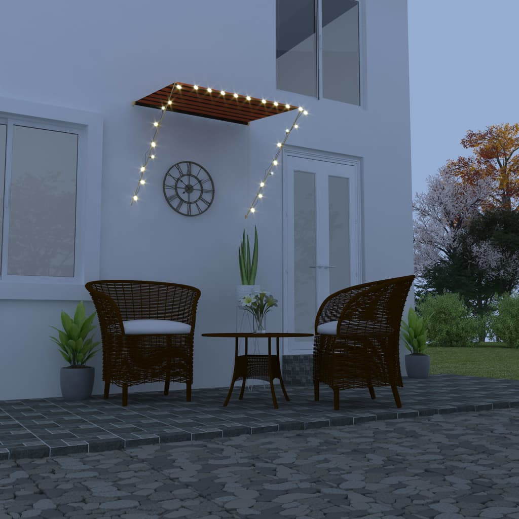 Retractable Awning with LED 150x150 cm Orange and Brown  - buy with discount