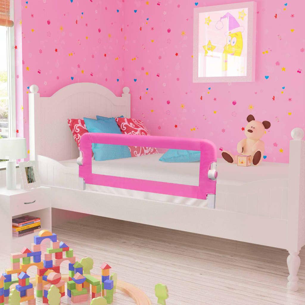 Ράγα κρεβατιών ασφαλείας για μικρά παιδιά 2 τεμ Ροζ 102x42 εκ