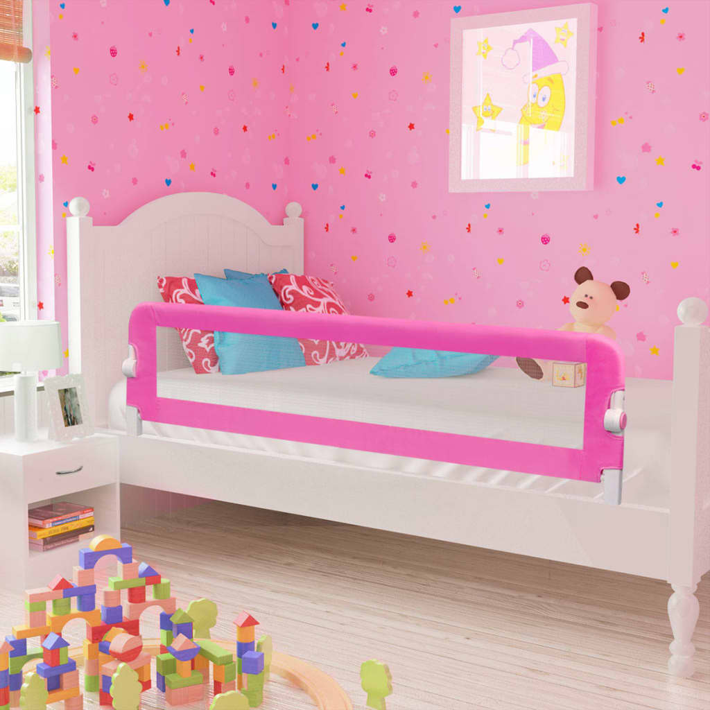 Ράγα κρεβατιών ασφαλείας για μικρά παιδιά 2 τεμ Ροζ 150x42 εκ