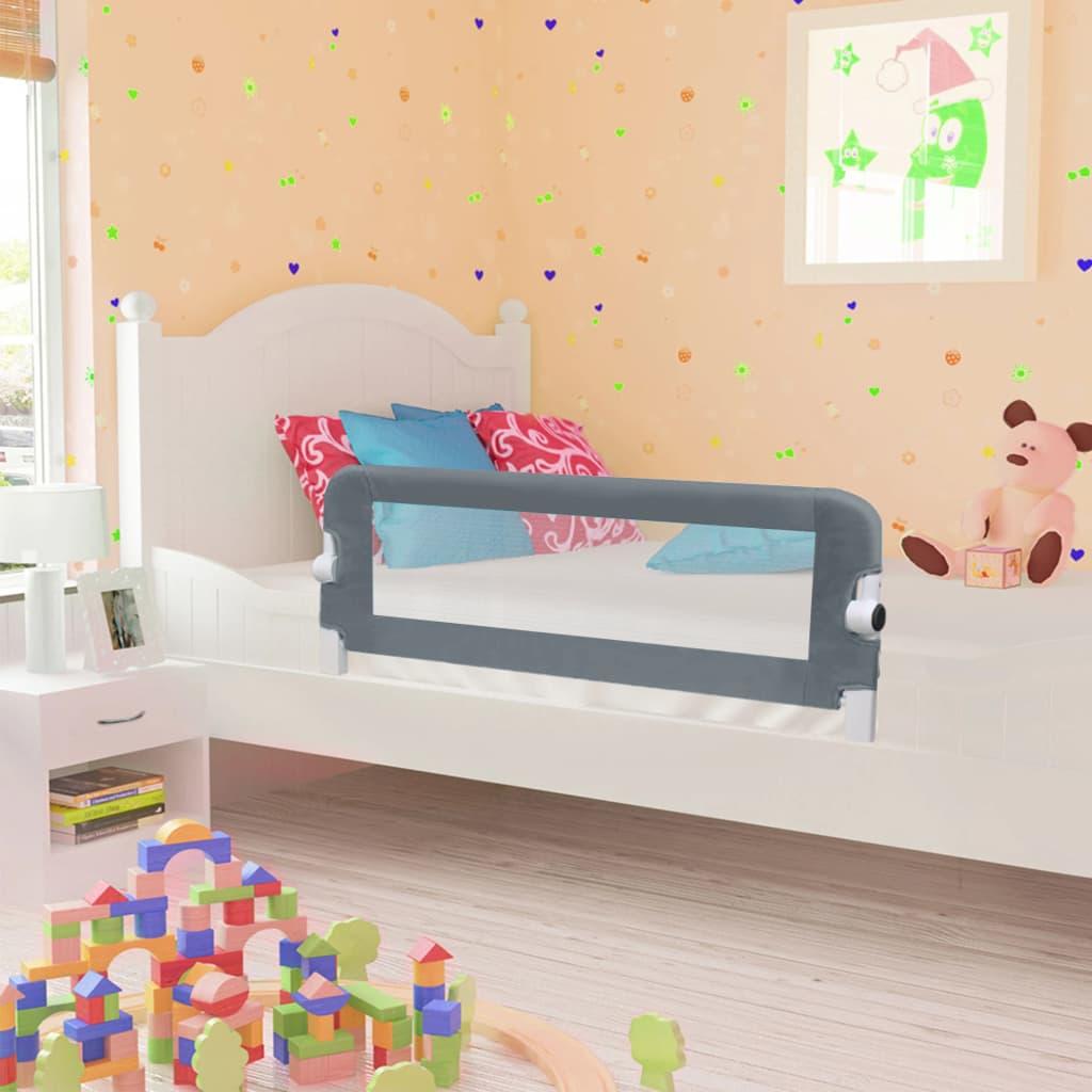 Barrière de lit de sécurité pour tout-petit Gris 102x42 cm Polyester