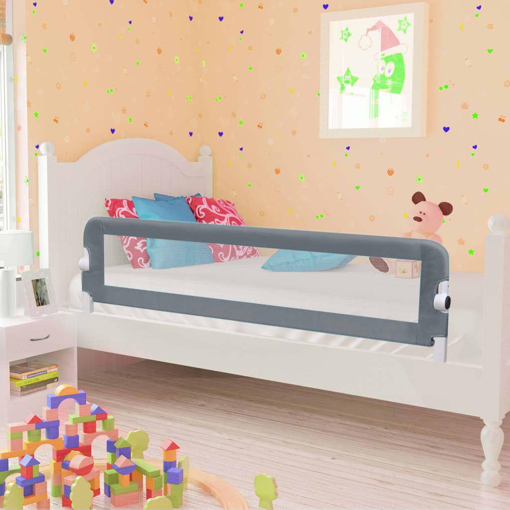Barrière de lit de sécurité pour tout-petit Gris 150x42 cm Polyester