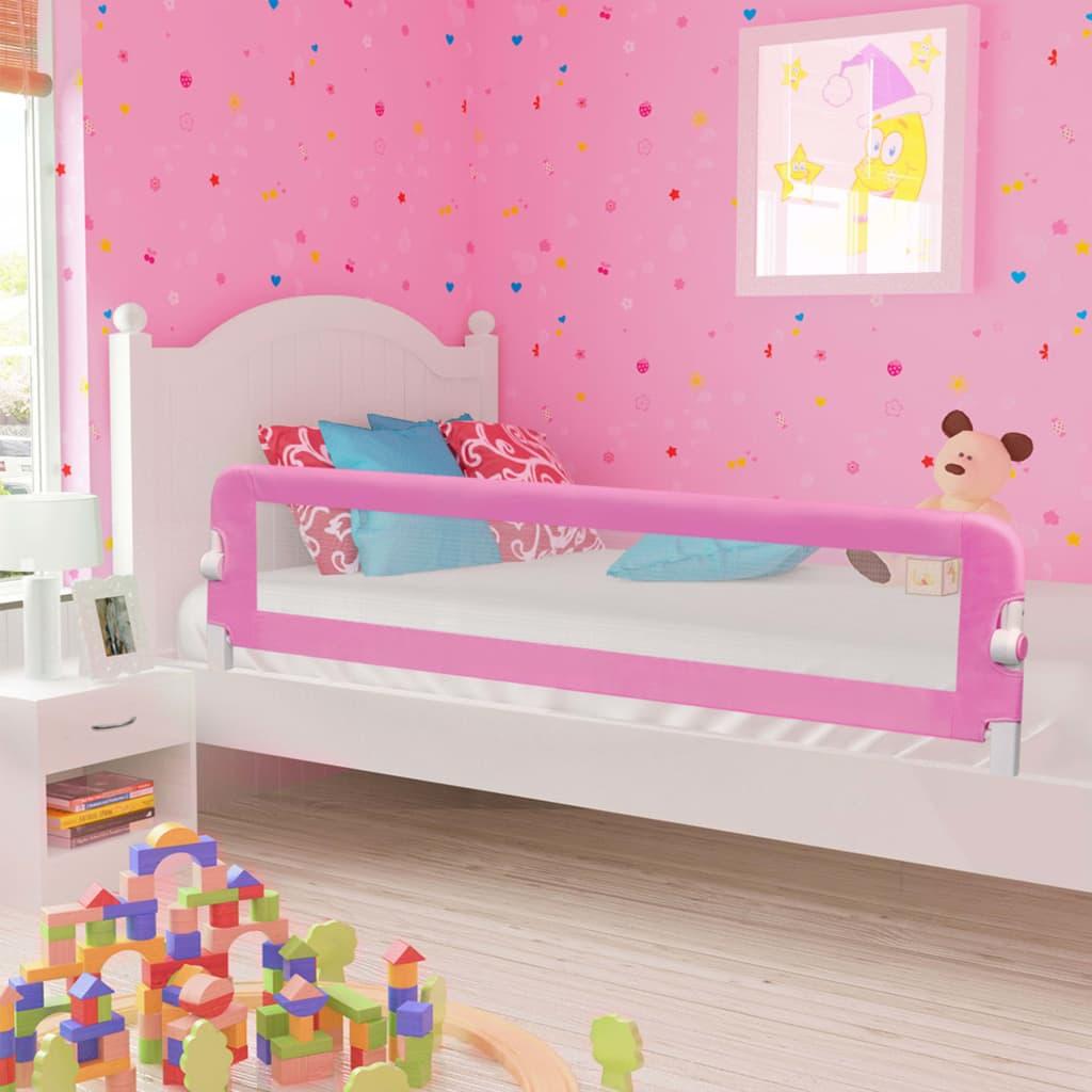 Ροζ κρεβατιών ασφαλείας για μικρά παιδιά Ροζ 180x42 cm Πολυεστέρας