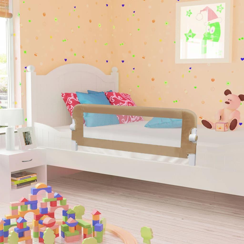 Barrière de lit de sécurité enfant Taupe 102x42 cm Polyester