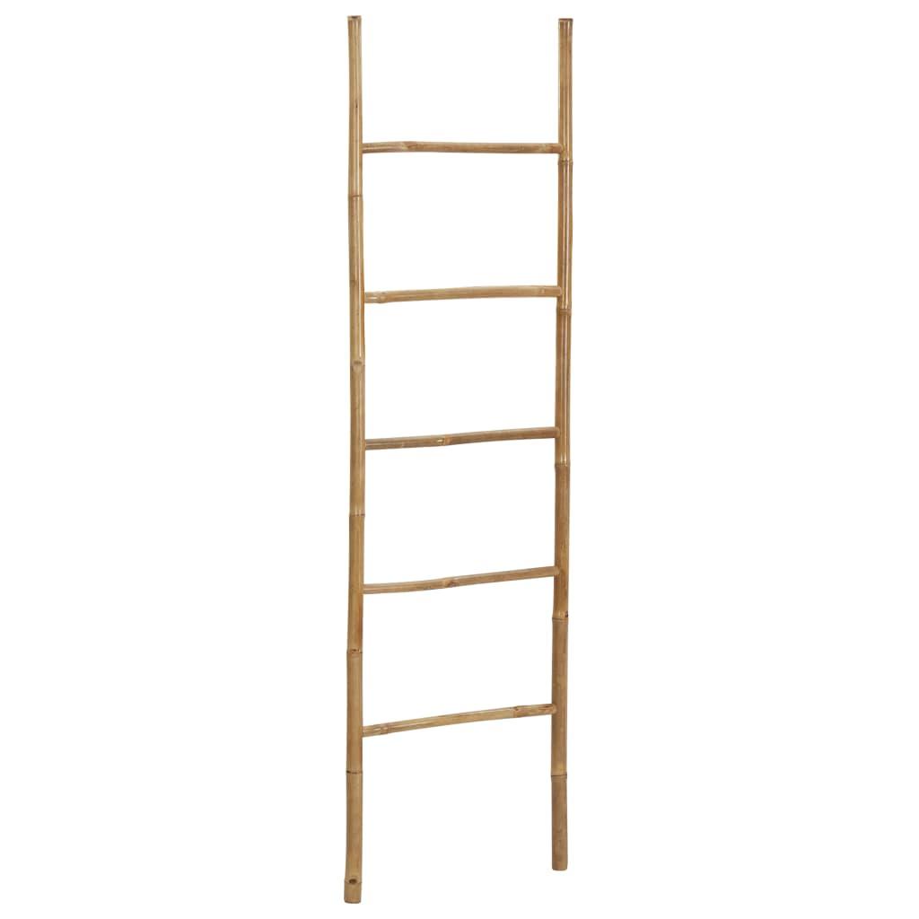 5段170cm竹製タオルはしご