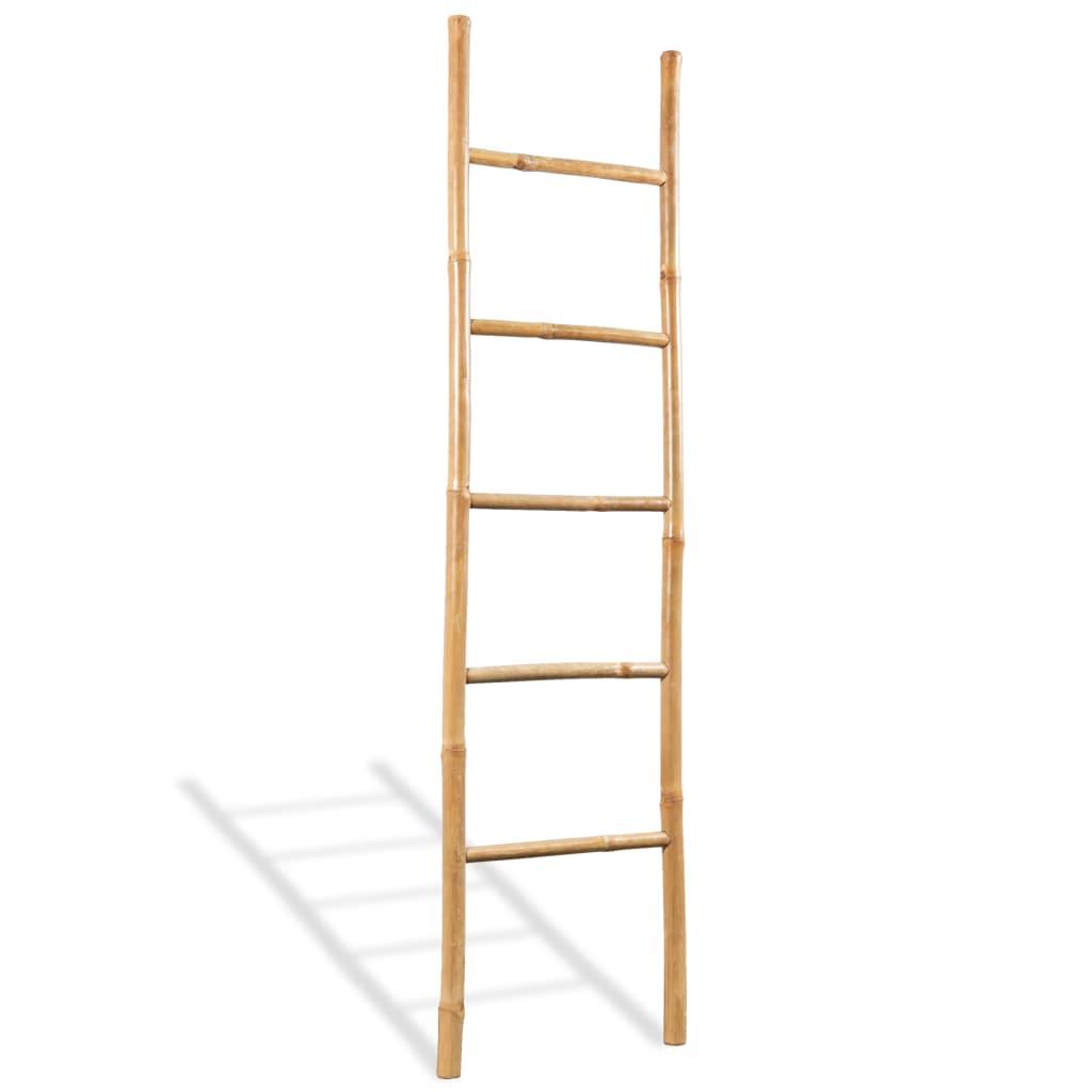 Лестница для полотенец с 5 перекладинами из бамбука 150 см