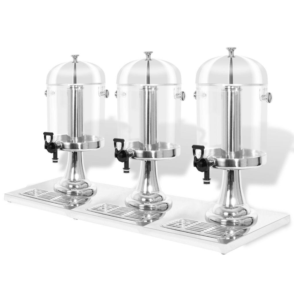 Triple Juice Dispenser Stainless Steel 3 x 8 L