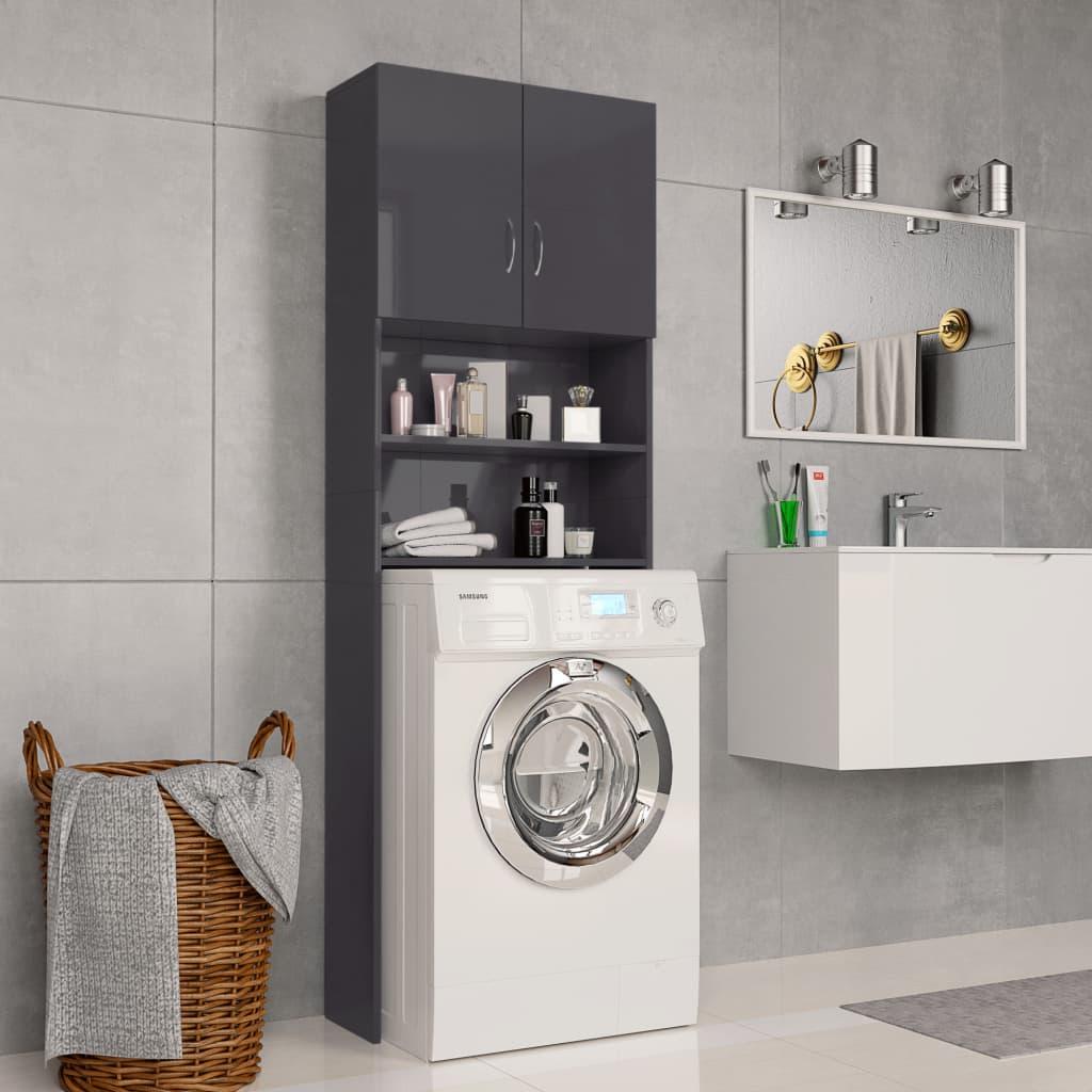 Πλυντήριο ρούχων Γυαλιστερό γκρι 64x25.5x190 cm μοριοσανίδα