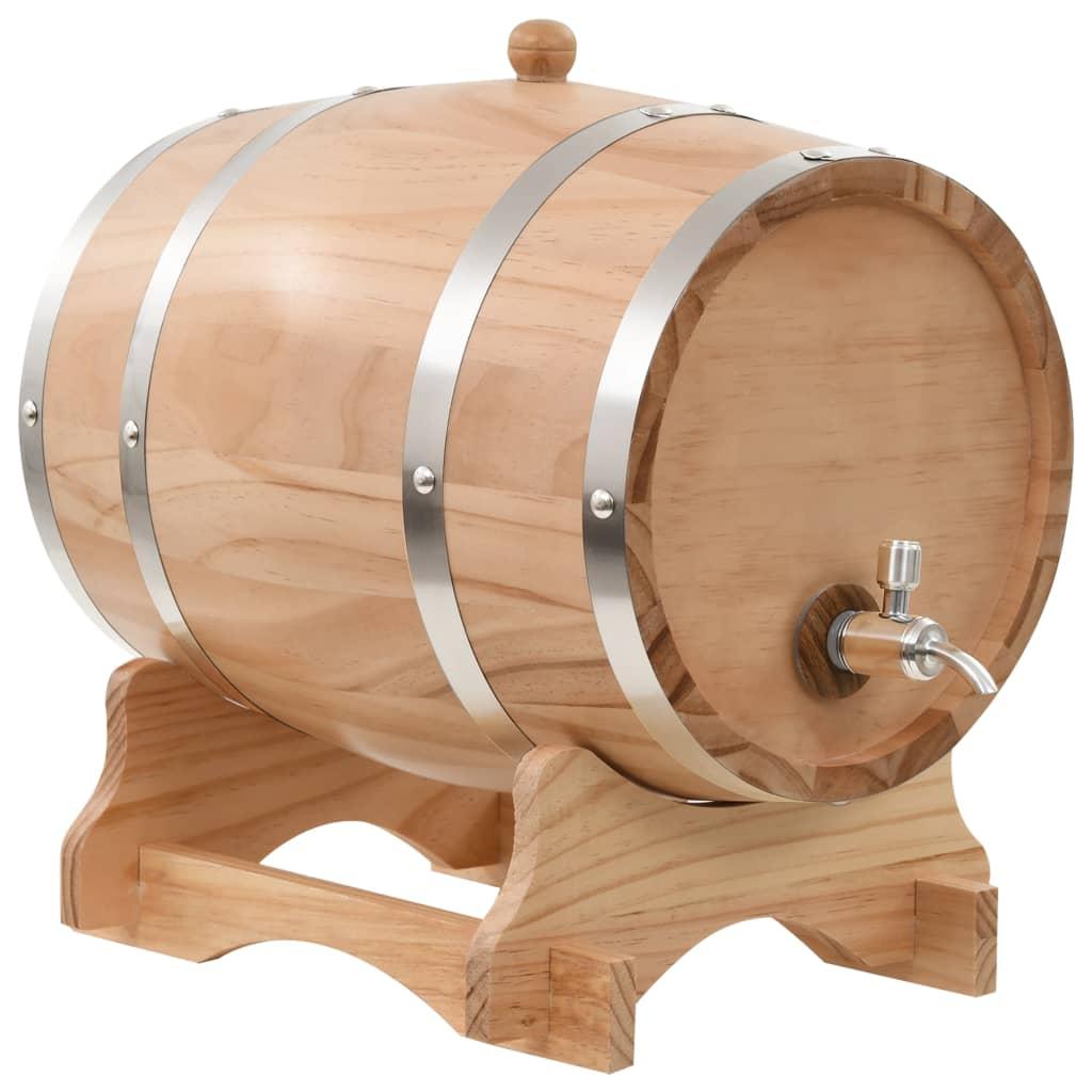 Botte per Vino con Rubinetto in Legno Massello di Pino 12 L