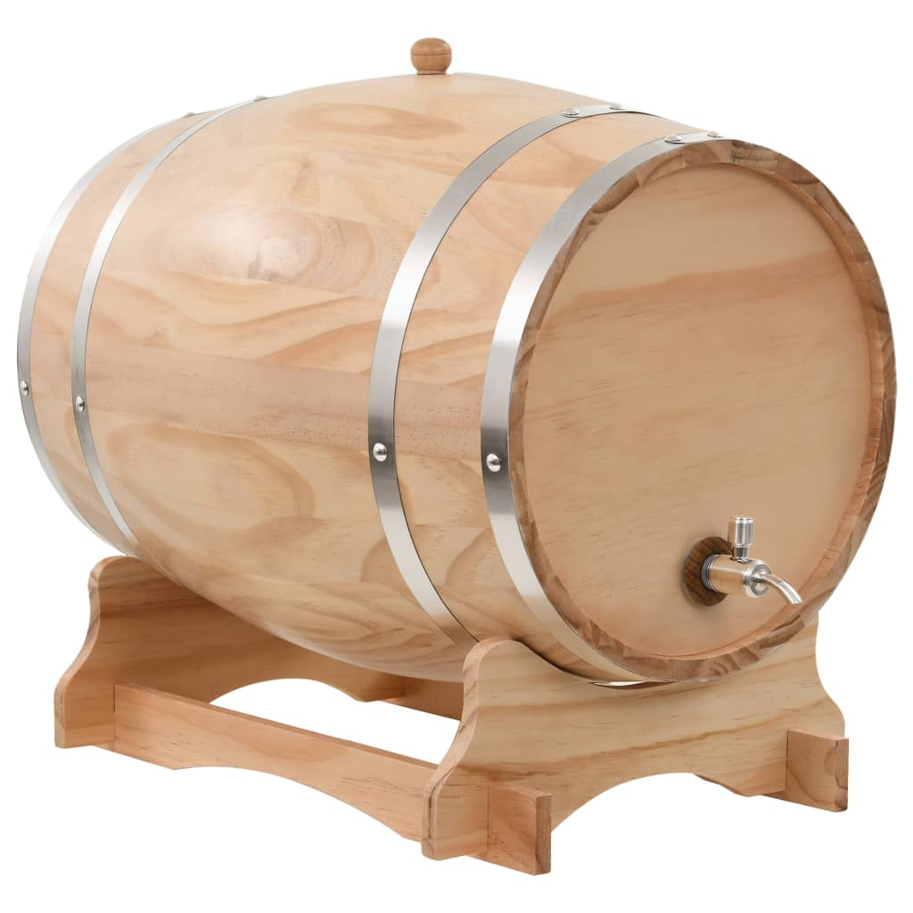 Botte per Vino con Rubinetto in Legno Massello di Pino 35 L