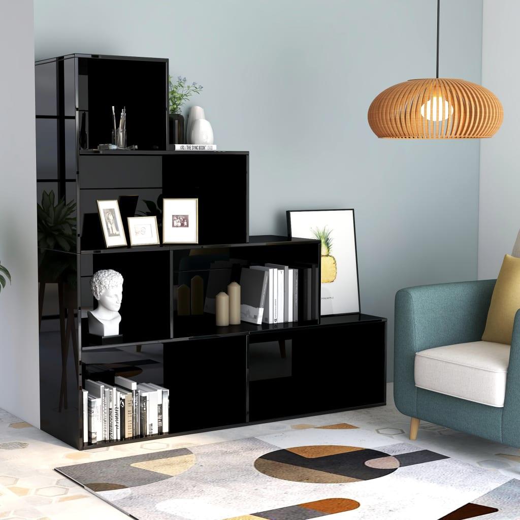 Armoire à livres / séparateur de pièce noir brillant 155x24x160 cm aggloméré