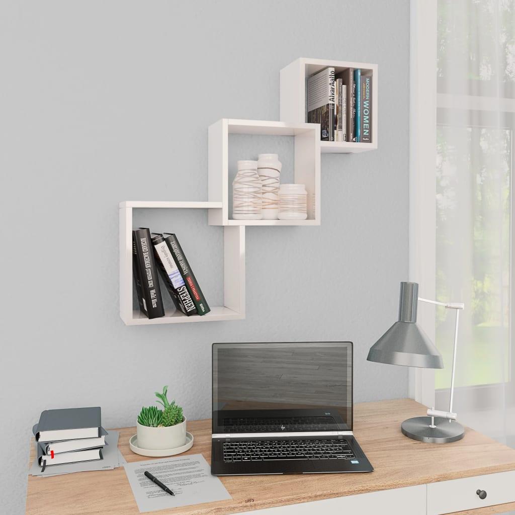 Étagères Murales Cube Blanc Brillant 84.5x15x27 cm Aggloméré