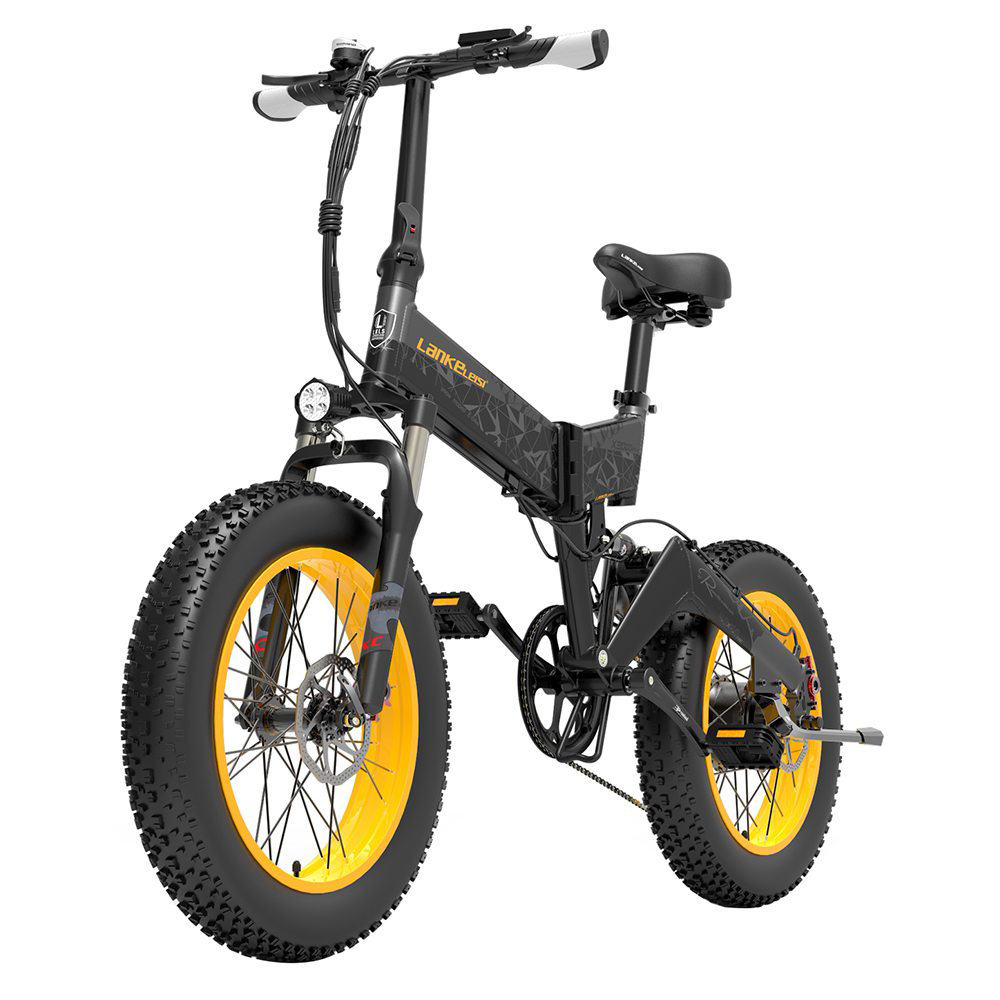 LANKELEISI X3000 Plus Folding Electric Bike Bicycle 48V 1000W Motor 10.4Ah Battery 26x4.0 Tires Aluminum Alloy Frame Hydraulic Disk Brake Shimano 7 Speed Derailleur Max Speed 46km/h 90KM Mileage Range 3 Riding modes - Black Yellow