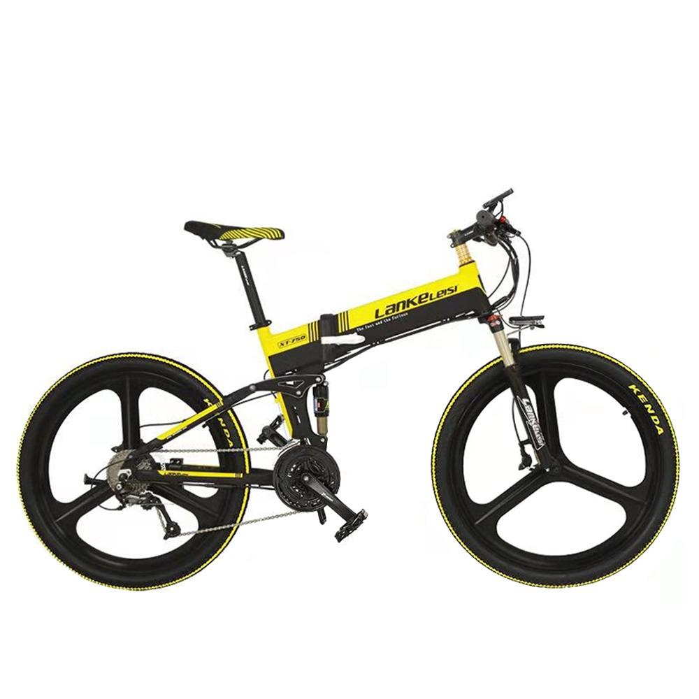 LANKELEISI XT750 Sports Edition Folding Electric Bike Bicycle 48V Panasonic 10.4AH 400W Motor 26x1.95 Tires Aluminum Alloy Frame Hydraulic Disk Brake Shimano 9 Speed Derailleur Max Speed 30km/h 100KM Mileage Range - Black Yellow