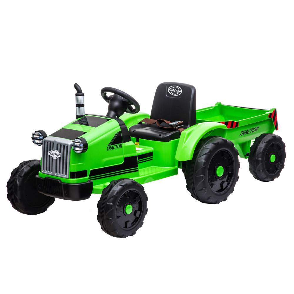 LEADZM LZ-9959 játéktraktor pótkocsival, 3 fokozatú váltó talajrakodó LED lámpákkal - zöld