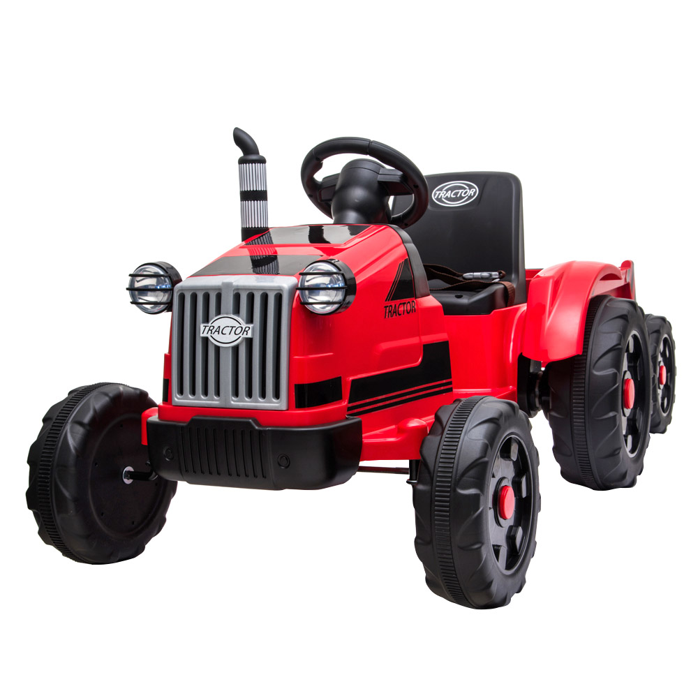 LEADZM LZ-9959 Toy Tractor with Trailer 3-Gear-Shift Ground Loader LED Lights - Red