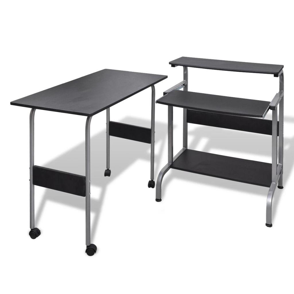 Bureau d'ordinateur 2 pièces avec plateau de clavier coulissant noir