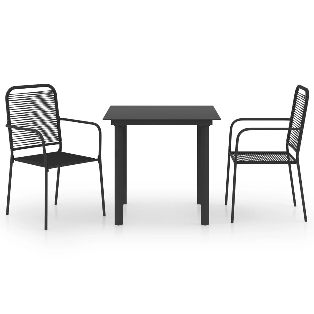 Ensemble de salle à manger de jardin 3 pièces verre noir et acier