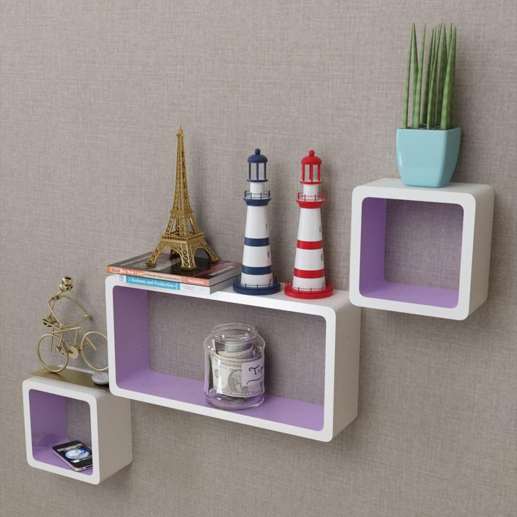 3 cubes de rangement mural flottant en MDF blanc-violet pour livre / DVD