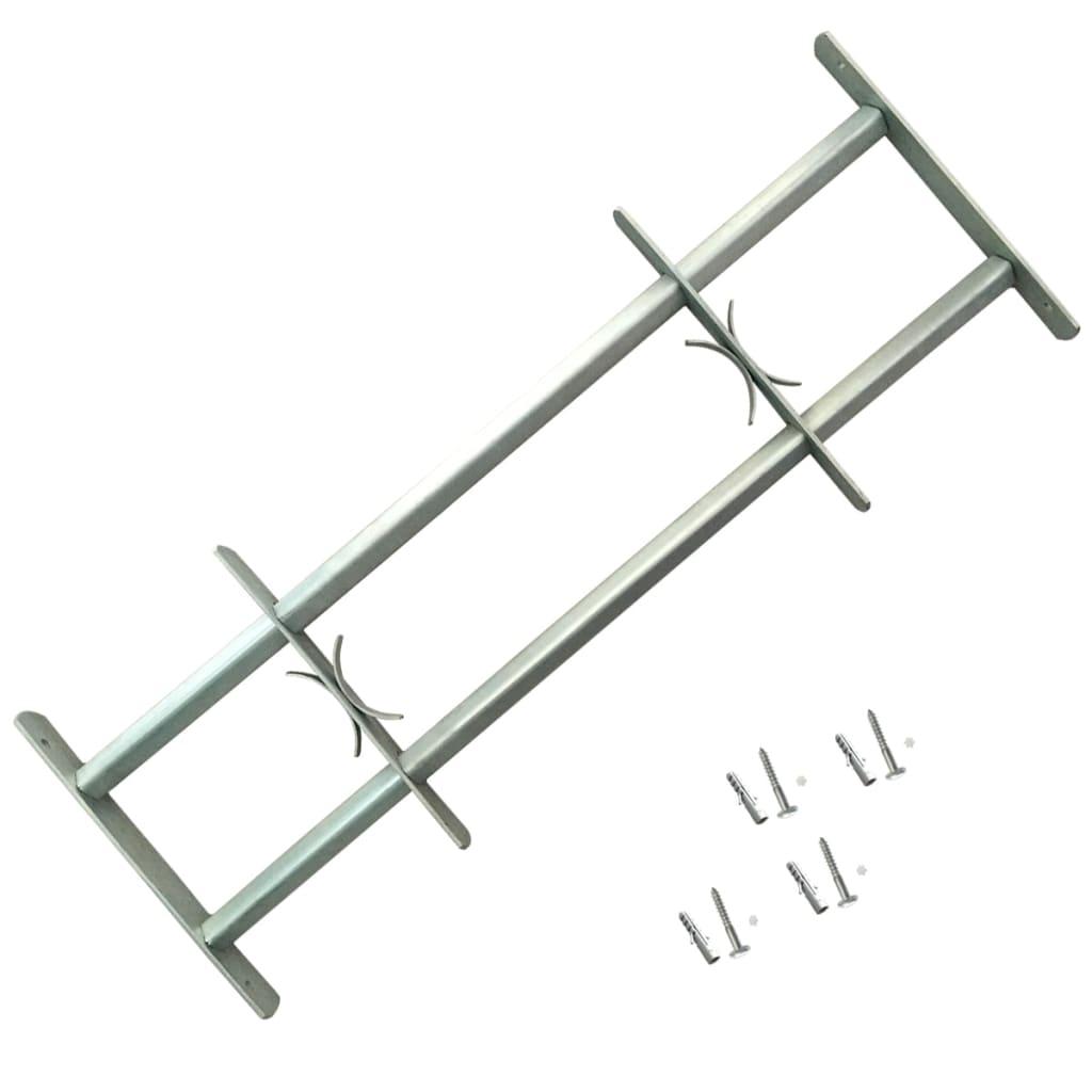 Grille de sécurité ajustable pour fenêtres avec 2 barres transversales 1000-1500 mm