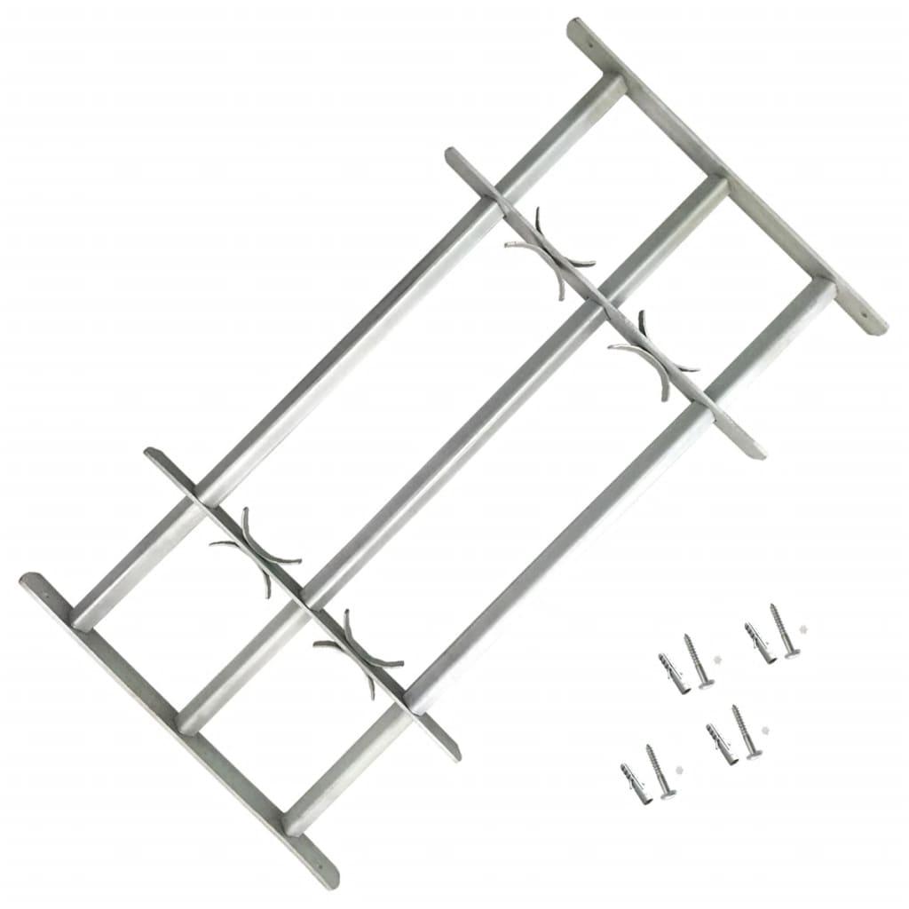 Grille de sécurité ajustable pour fenêtres avec 3 barres transversales 500-650 mm