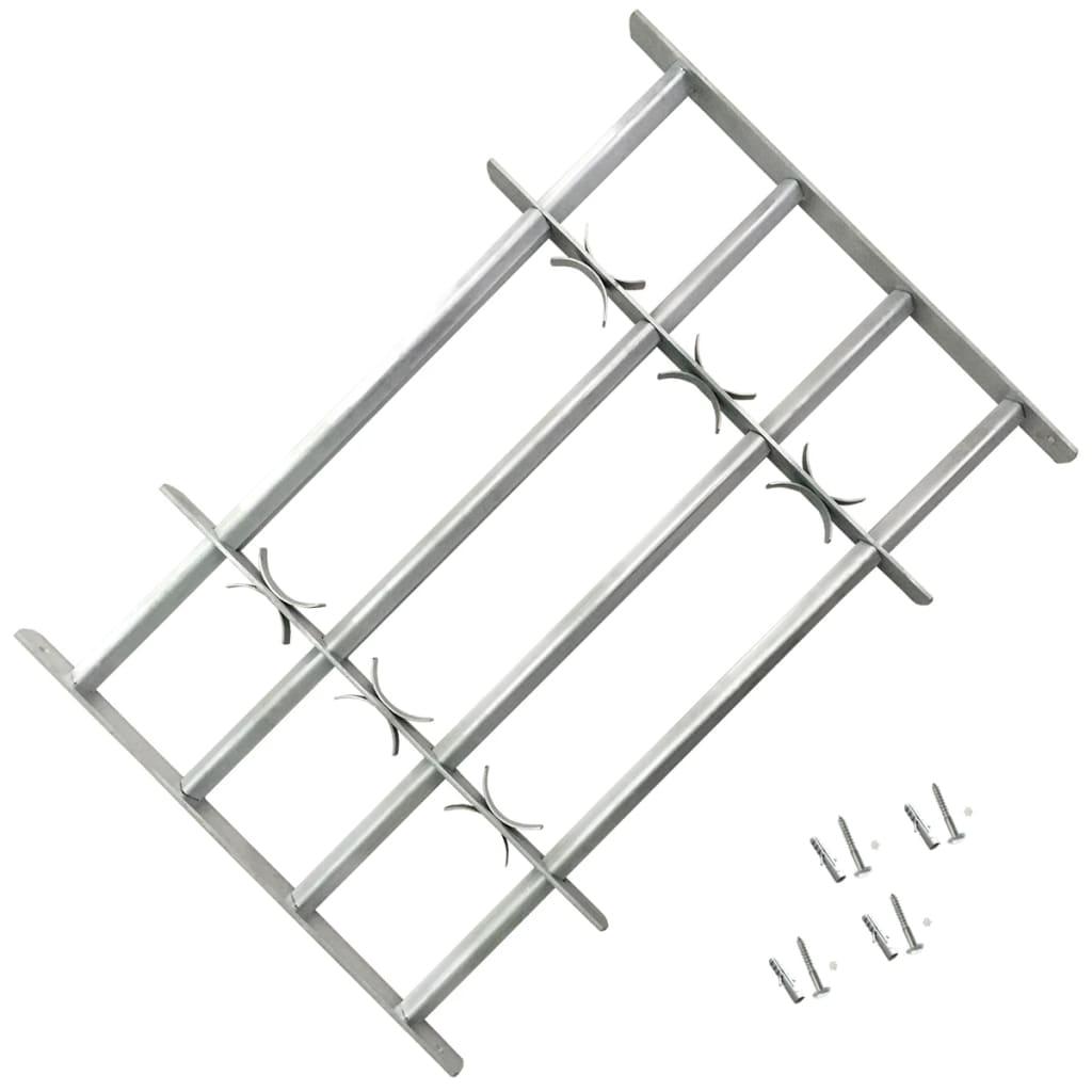 Grille de sécurité ajustable pour fenêtres avec 4 barres transversales 1000-1500 mm