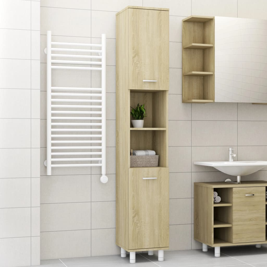 Meuble de salle de bain Sonoma Oak 30x30x179 cm aggloméré