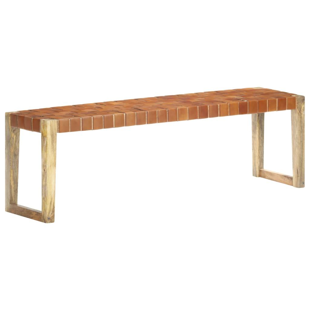 Banc 150 cm en cuir véritable marron et bois de manguier massif