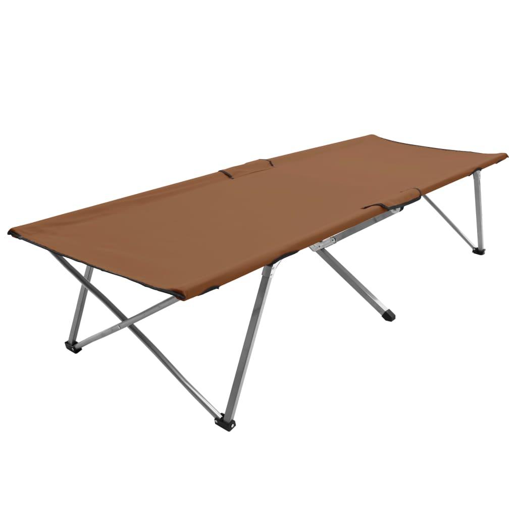 Lettino da campeggio 206x75x45 cm XXL Marrone