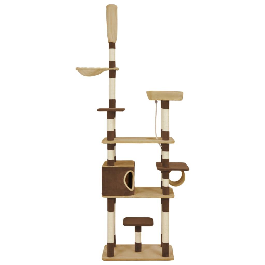 サイザル麻の引っかき棒が付いている猫の木茶色235cm