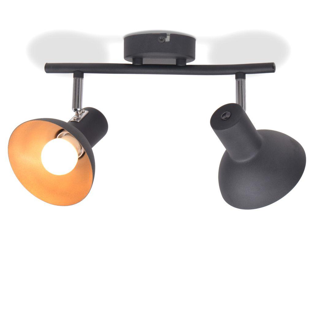 Потолочный светильник на 2 лампы E27 черный и золотой