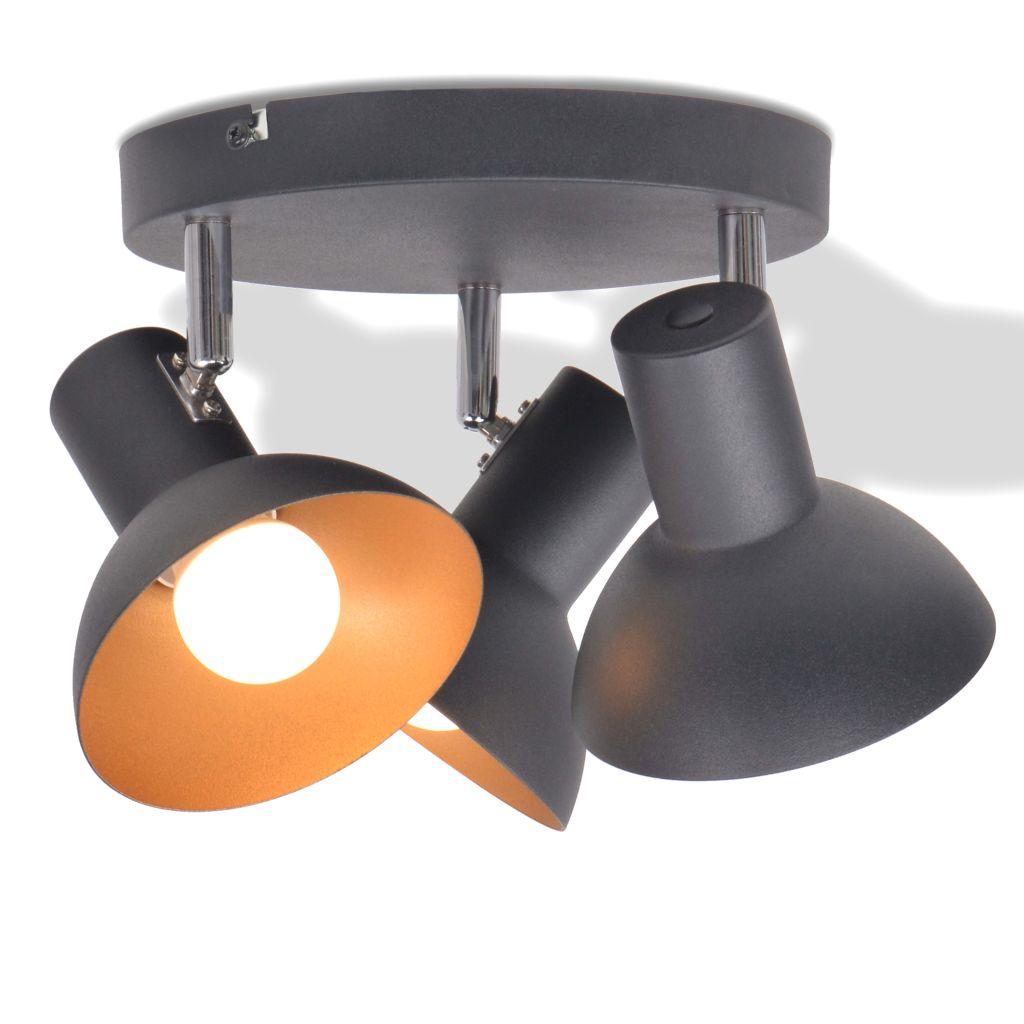 Потолочный светильник на 3 лампы E27 черный и золотой