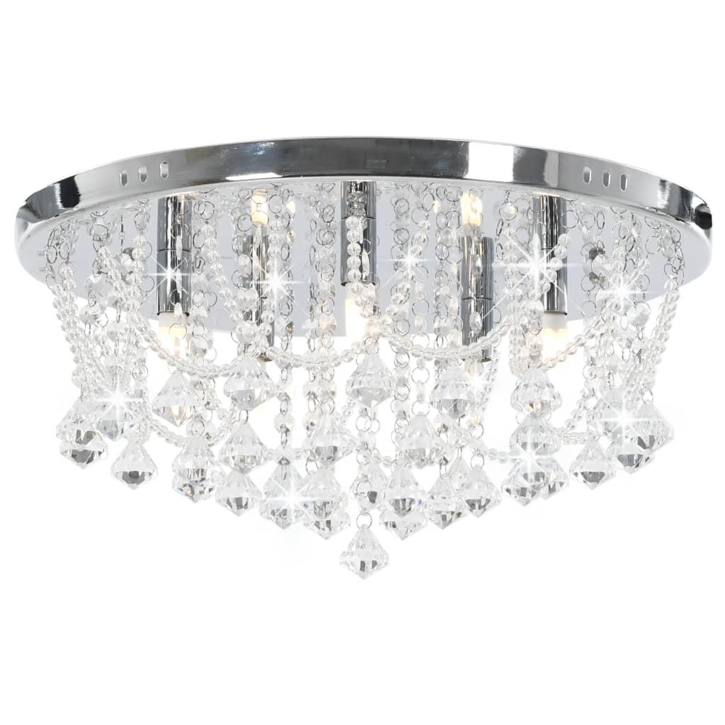Потолочный светильник с хрустальными бусинами, серебряные круглые лампы, 4 лампы G9
