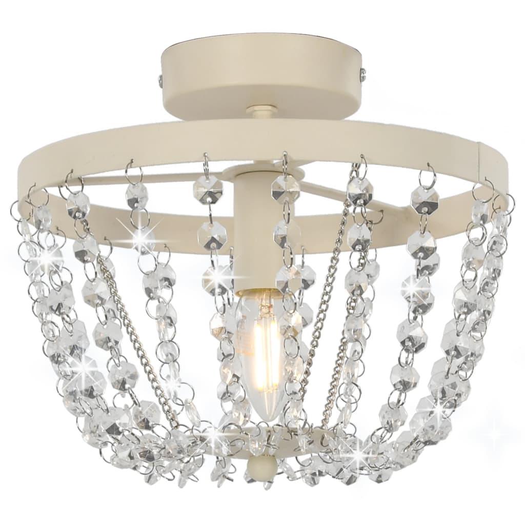 Потолочный светильник с хрустальными бусинами круглый белый E14