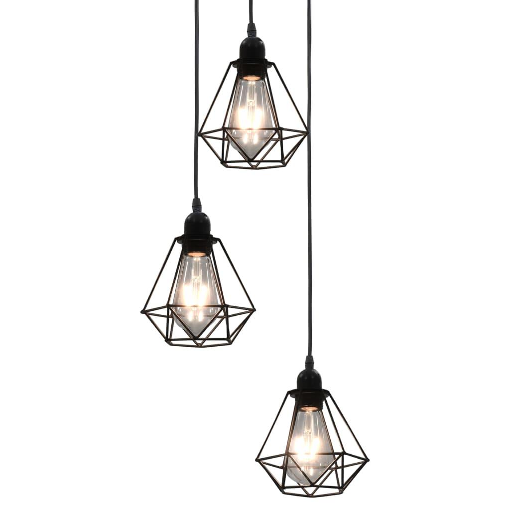 Потолочный светильник с алмазным дизайном, черный, 3 лампы E27