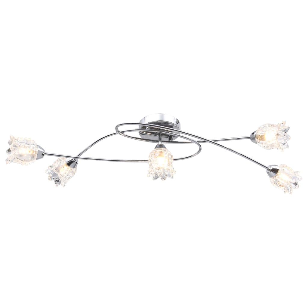 Потолочный светильник со стеклянными абажурами для 5 ламп G9