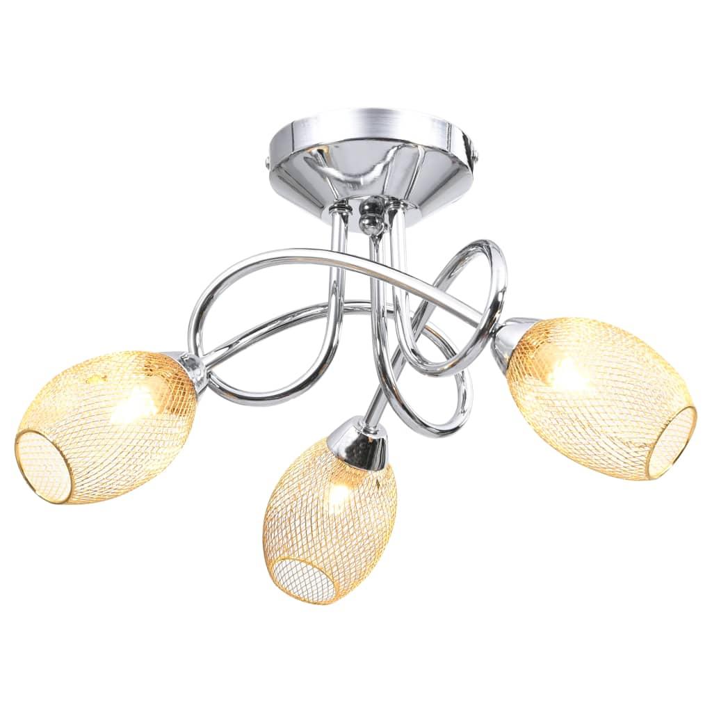 Потолочный светильник с позолоченными абажурами для 3 лампочек G9
