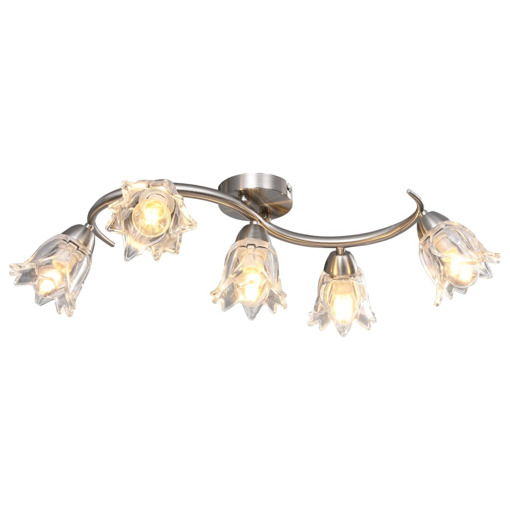 Потолочный светильник с прозрачным стеклом на 5 лампы E14 Tulip