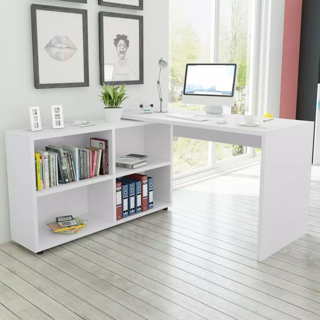 Bureau d'angle 4 tablettes blanc