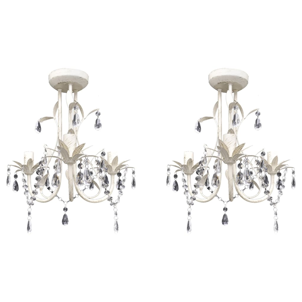 Хрустальные подвесные потолочные светильники Люстры 2 шт Elegant White