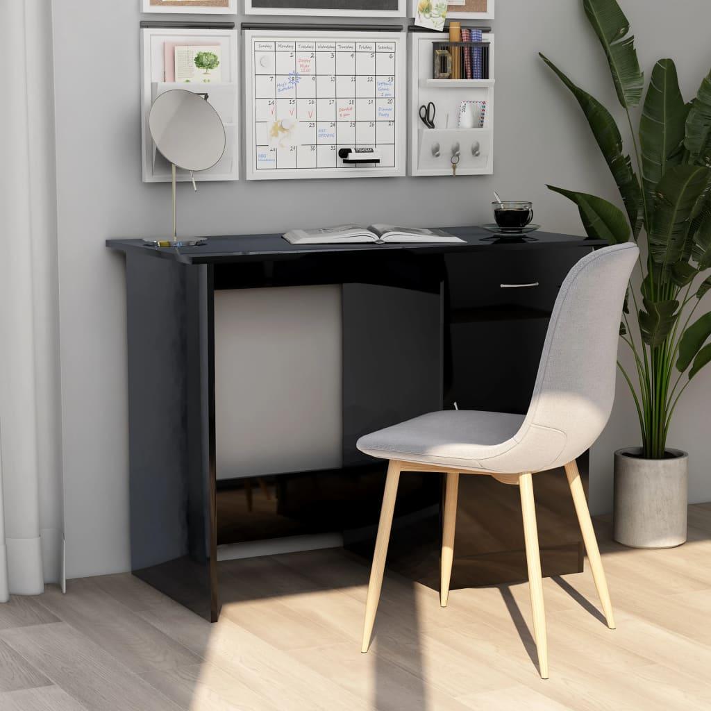Bureau en aggloméré noir brillant 100x50x76 cm