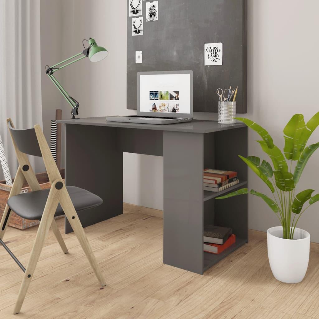 Bureau gris brillant 110x60x73 cm aggloméré