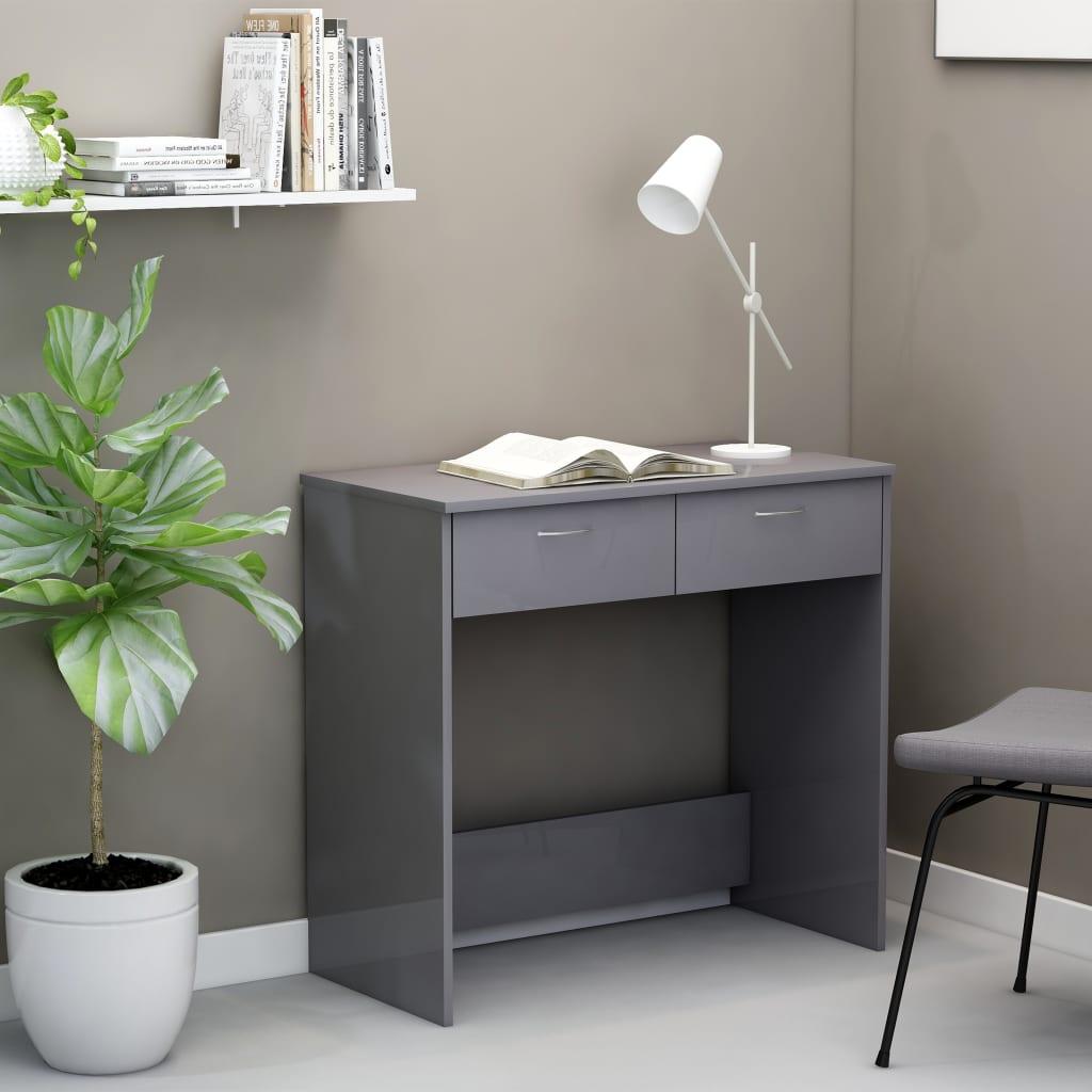 Bureau gris brillant 80x40x75 cm aggloméré