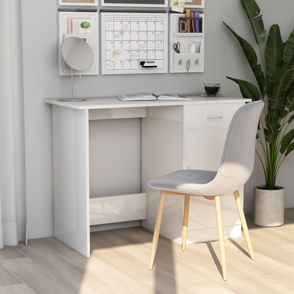Bureau en aggloméré blanc brillant 100x50x76 cm