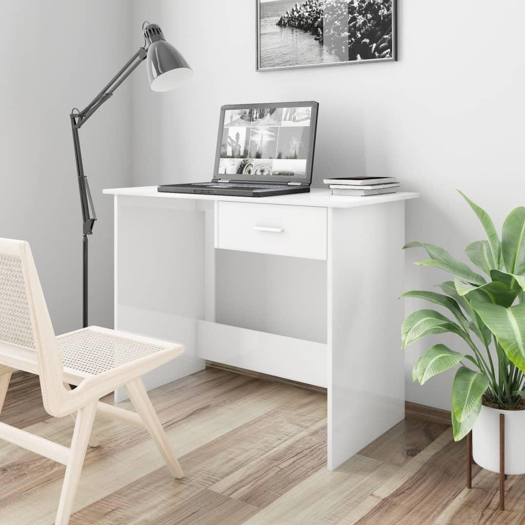 Επιτραπέζιο High Gloss White 100x50x76 cm Μοριοσανίδα