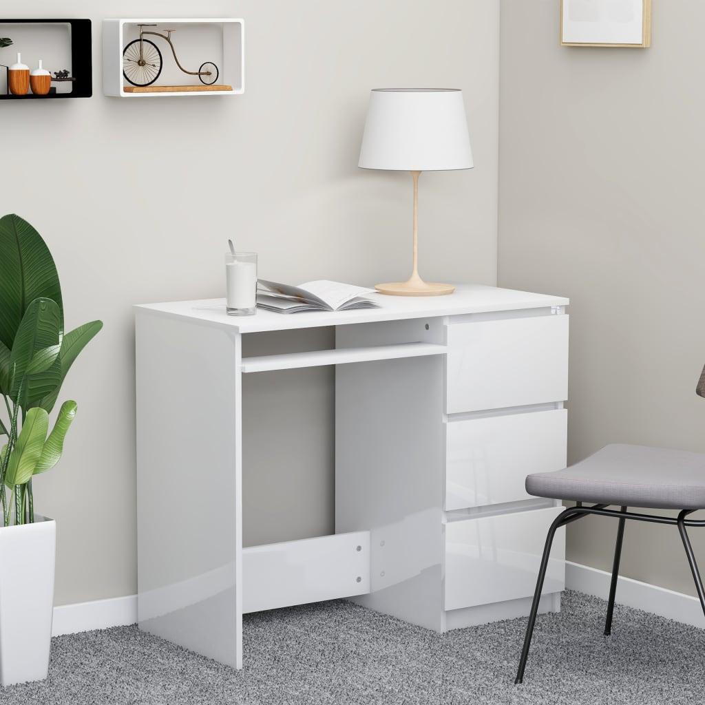 Bureau en aggloméré blanc brillant 90x45x76 cm