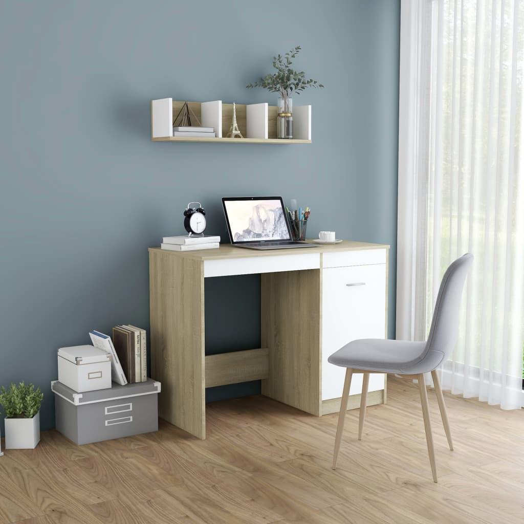Επιτραπέζιο λευκό και Sonoma Oak 100x50x76 cm Μοριοσανίδα