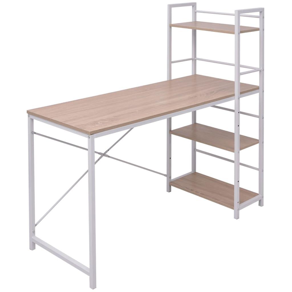 Bureau avec bibliothèque à 4 niveaux en chêne